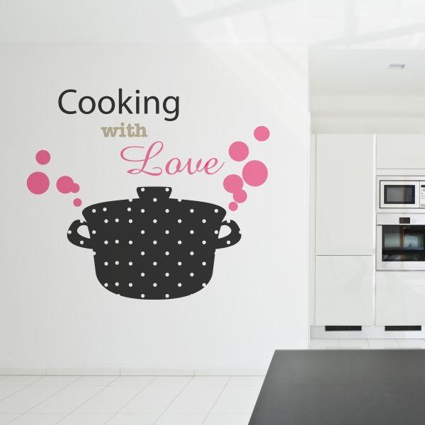 """Vinilo decorativo 3 colores """"Cooking with love"""". Masquevinilo.com"""