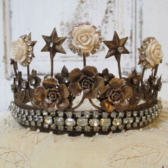 Pin By Karen Crawn On Home Decor: Brass Crown Tiara Statue Decor Vintage Rhinestones Jewelry
