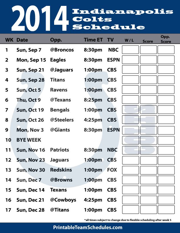 indianapolis colts 2014 schedule | 2014 Indianapolis Colts Football Schedule