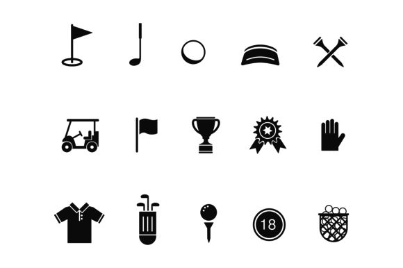 15 Golf Icons by Creative VIP on @creativework247