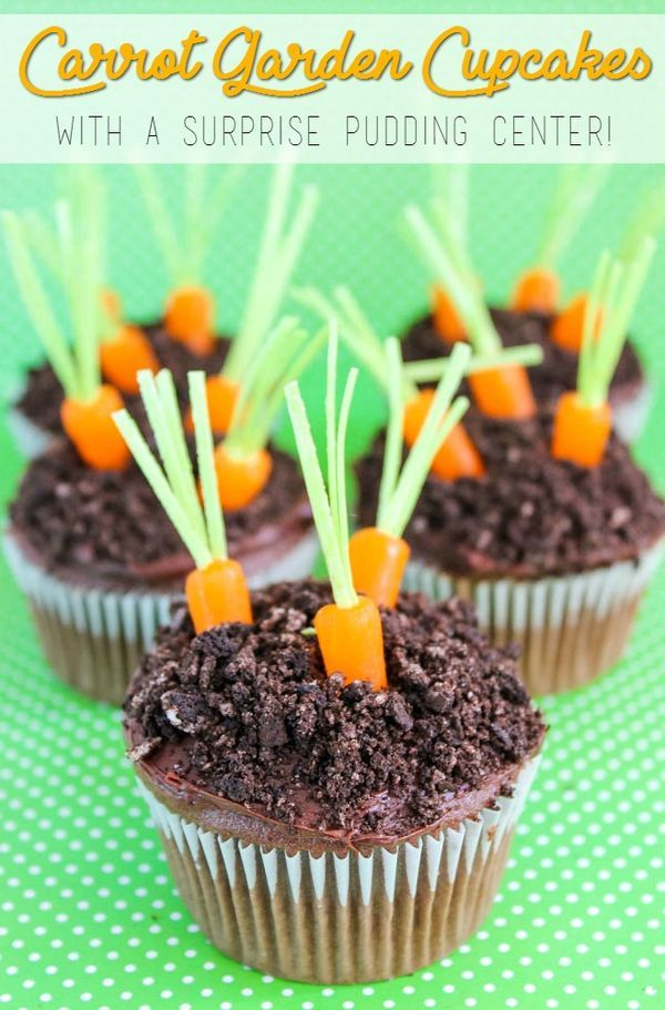 Cute Carrot Garden Cupcakes for Spring or Easter— This dessert recipe has a surprise pudding center!