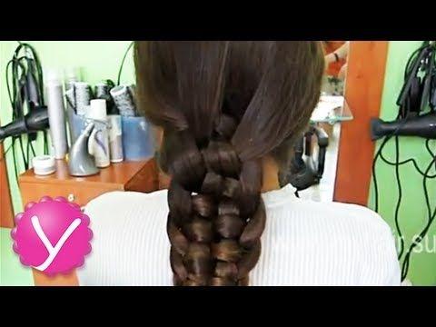 Плетение кос - коса из пяти прядей - YouTube