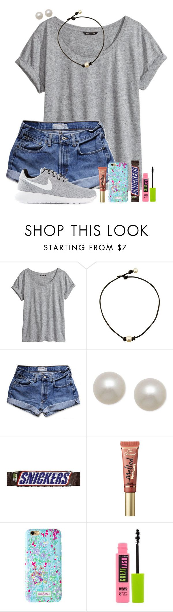 """pls read description"" by theblonde07 ❤ liked on Polyvore featuring H&M, Abercrombie & Fitch, Honora, Too Faced Cosmetics, Maybelline and NIKE"