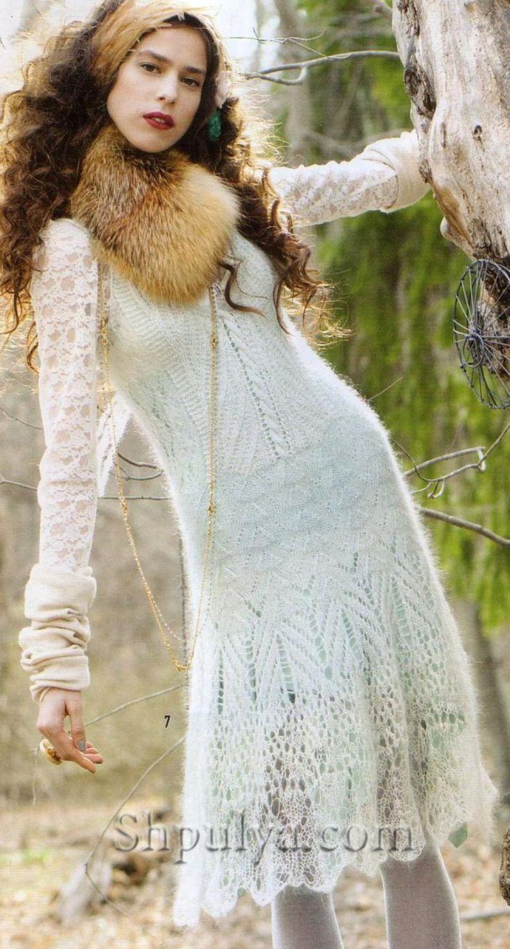 Ажурный белый сарафан из Vogue Knitting