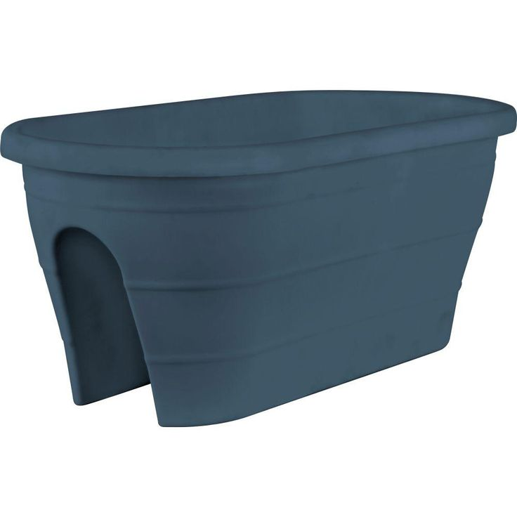 Mela 23 in. x 11 in. Dark Gray Plastic Trough Rail Planter