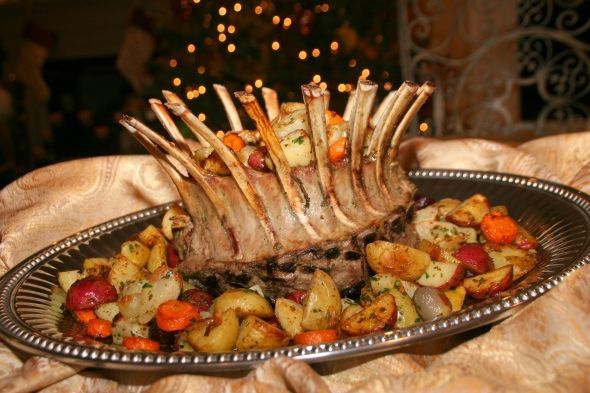 Crown Roast of Lamb with Roasted Potatoes and Root Vegetables