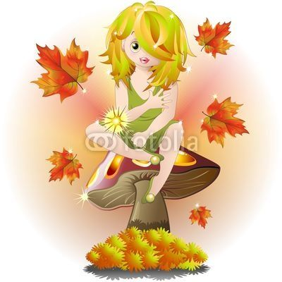 Fairy on Autumn Mushroom-Vector © bluedarkat