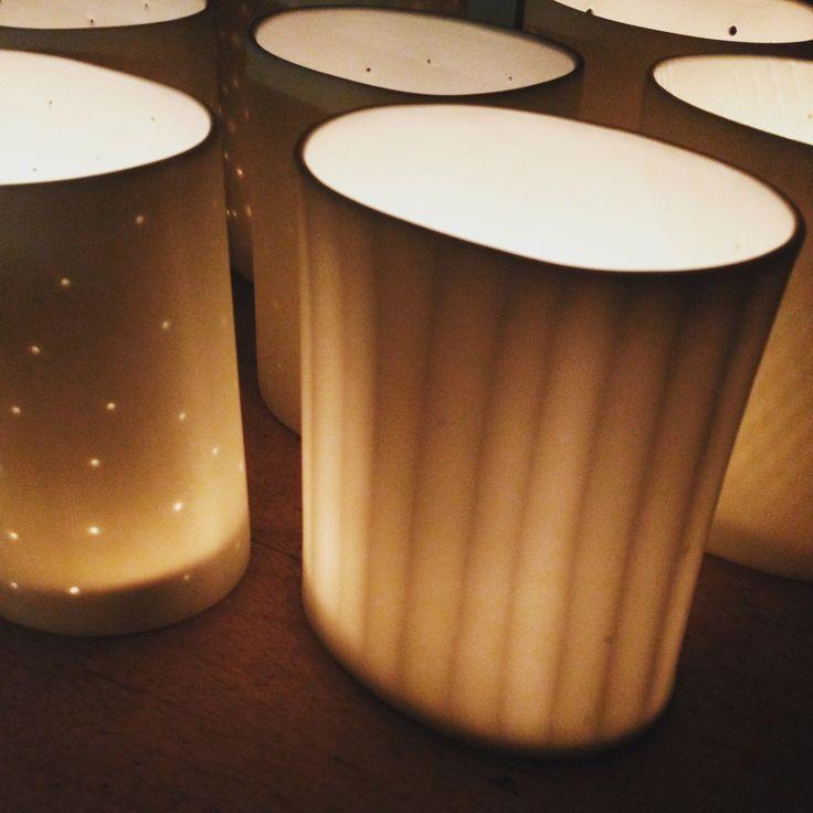 Handmade porcelain tealight / lantern by Saara Paatero-Burtsov