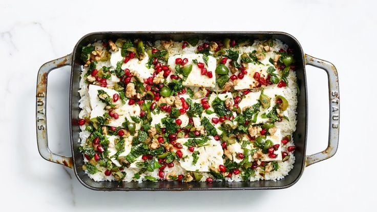 Baked Minty Rice with Feta and Pomegranate Relish   Bon Appetit Recipe