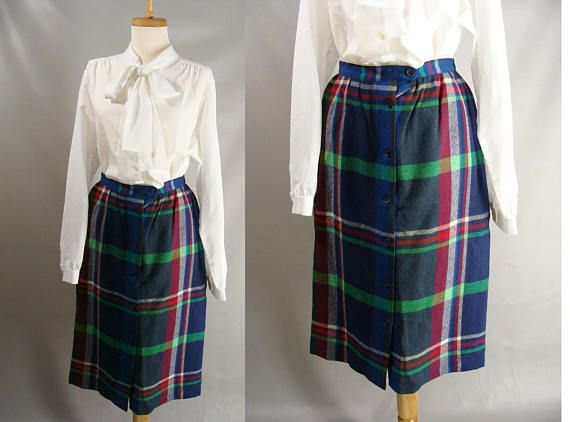 $42.22 Blue Plaid Wool Skirt. 80s Fall Skirt. Plaid Button Front Skirt. vintage John Meyer Skirt. Preppy College Skirt. Librarian Skirt. Size S 4 6