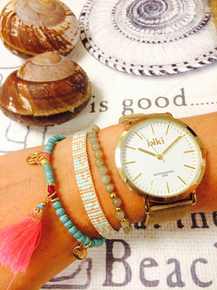 Let's go to the beach with some Jewelz & More --> horloge Ikki, armbandjes Chanellery, Mas jewelz & My Jewellery www.jewelzenmore.nl