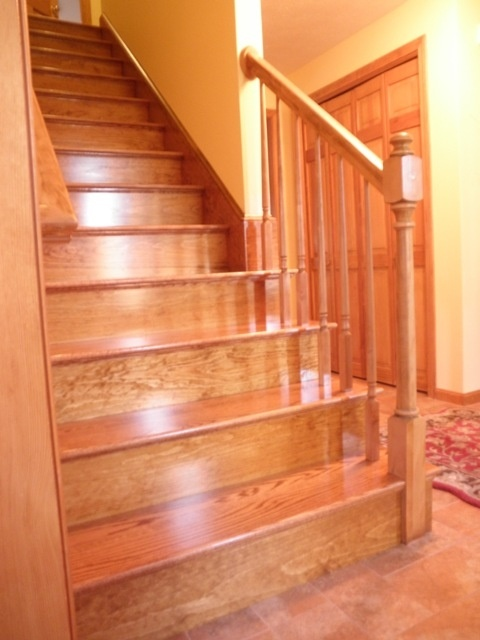 Red oak stairs hopefully there will be hardwood under the for Hardwood floors upstairs