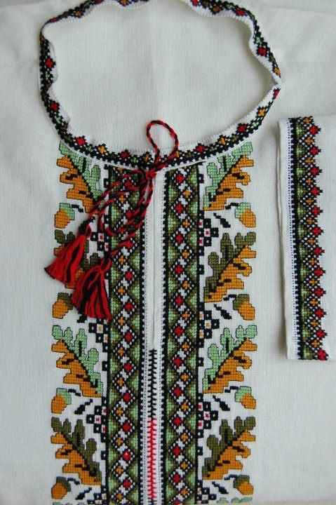 """ Dubok"", Ukraine; Traditional patterns with cross stitch embroidery - autumn centerpiece -"