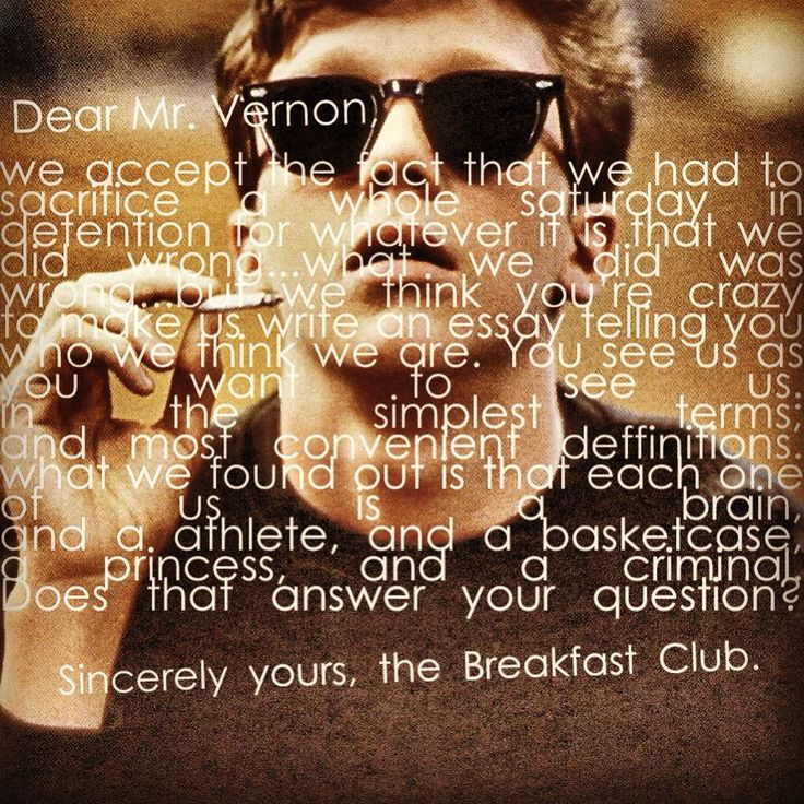 breakfast club essay quote Film quote deviantart: more like the breakfast club by mariocau  final  essay from the breakfast club welcome to our practice at mountain view family .