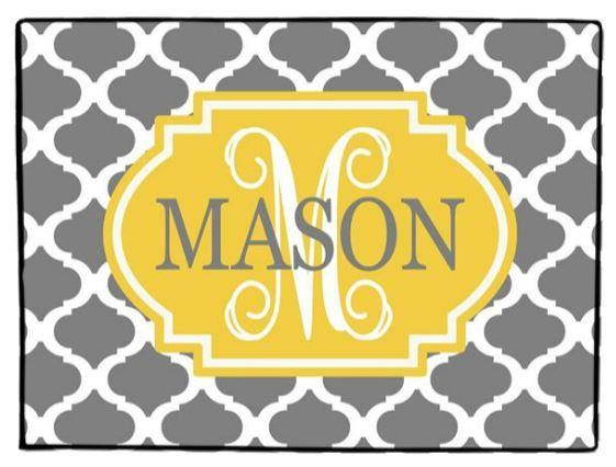Personalized Door Mat Monogrammed Doormat Gray Floor Rug Grey Front Door Mat MOROCCAN on Etsy, $35.00