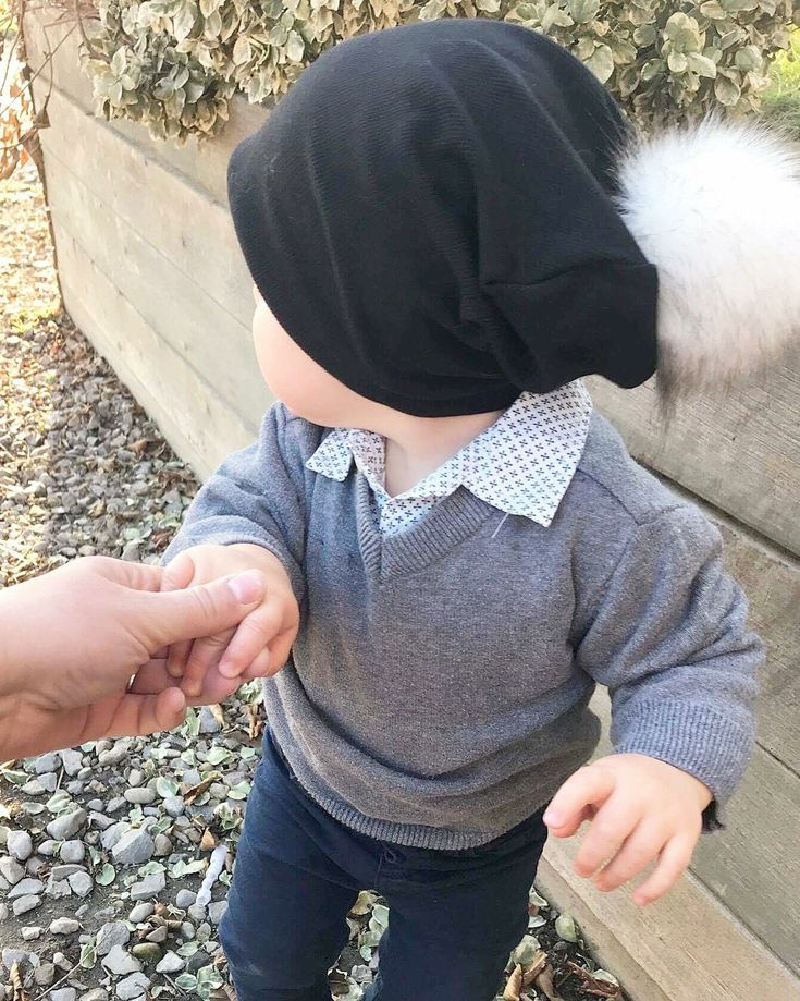 Pompom Bamboo hat by Lil Slouchies. Baby boy. Baby fashion