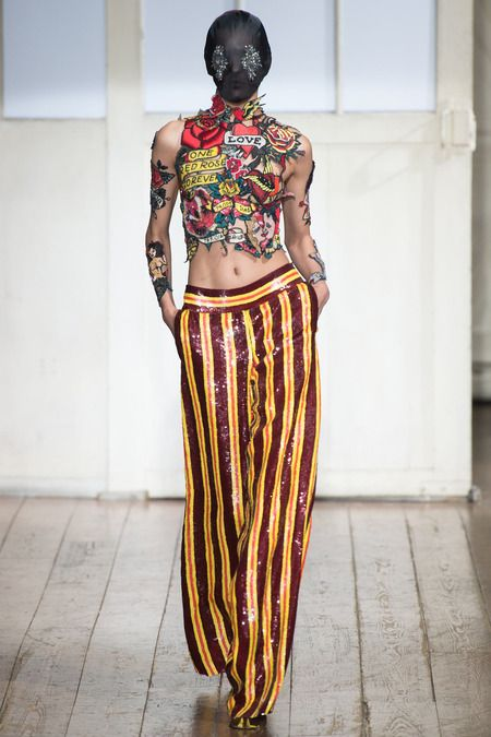 Maison Martin Margiela Couture Spring 2014. Patchwork is used in a collage formation to create the appearance of tattoos.