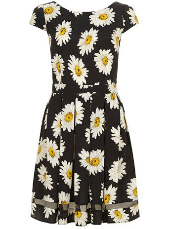 Black daisy tea dress
