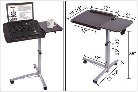 Wood Desk Chair No Wheels Kids Beach With Umbrella Amazon.com : Rolling Laptop W/ Tiltable Split-top Table Hospital Food Tray Computer Pc ...