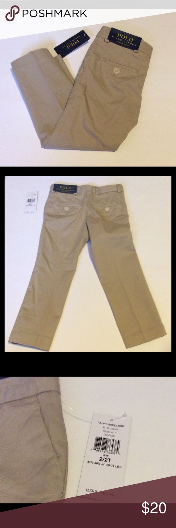 Polo Ralph Lauren Stretch Skinny Khaki Pants NWT Polo Ralph Lauren Khaki Pants. Stretch Skinny. 1 button/zipper closure. 2 front pockets/ 2 back pockets. Available in 2T or 3T,.. Size 2 Toddler was used in pictures. Polo by Ralph Lauren Bottoms