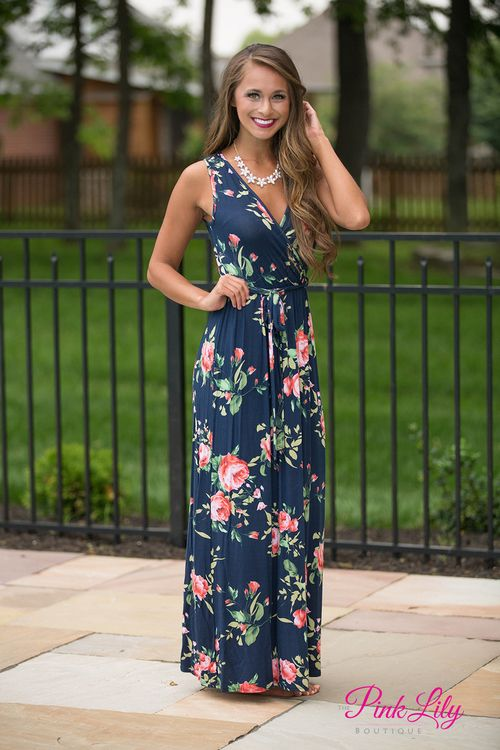 You couldn't give us a reason not to love this new maxi! It's a stunning combination of navy fabric with floral print in shades of pink and green! The sleeveless look is great for layering with a cardigan in the spring or wearing as is in the summer!