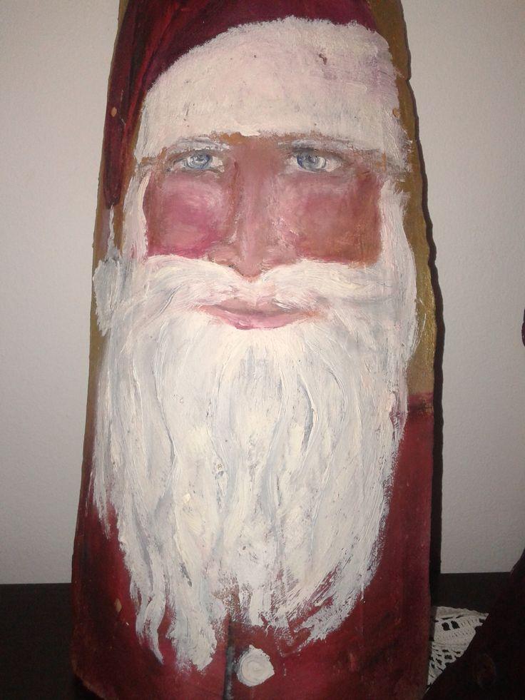 Ζωγραφική σε κεραμίδι -Santa on roof tile