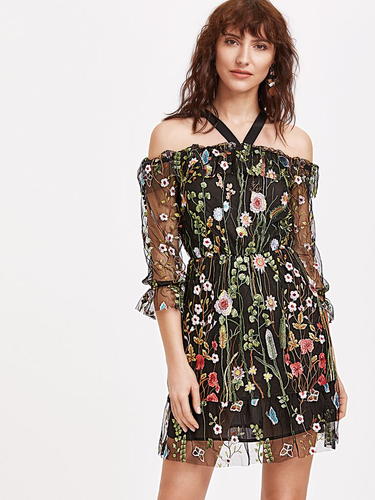 Floral Embroidered Mesh Dress With Slip - Black Liquorish lPFaY7a