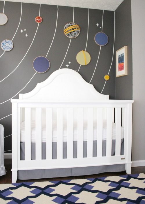 Adorable space theme room! oh man, I shouldn't let Zach see this or we'll have to change the whole nursery!