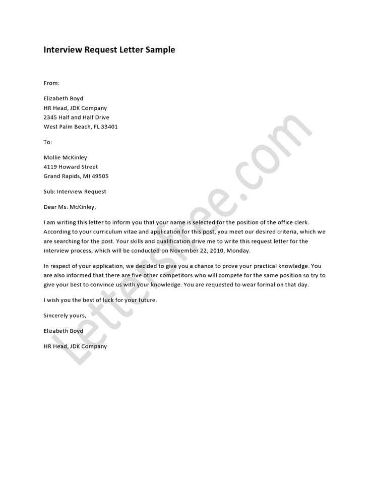 interview request letter interview letter sample