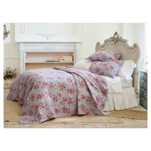 Simply Shabby Chic Purple Berry Rose Linen Blend Quilt   Simply Shabby Chic