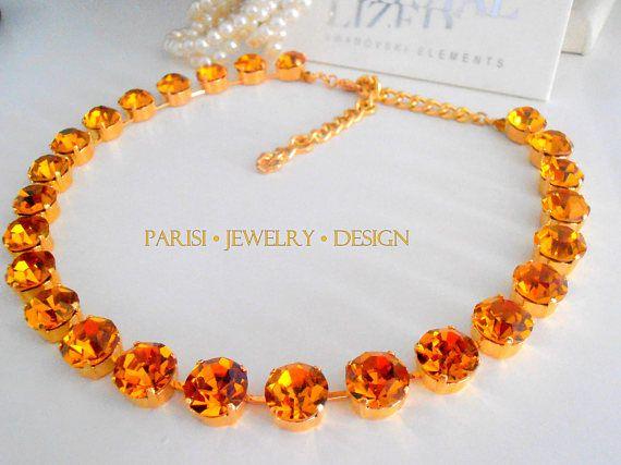 Topaz / Swarovski Crystal Necklace / Choker /  SS47 Yellow