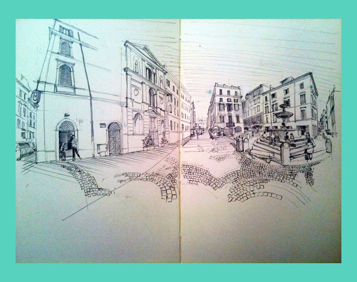 Piazza Madonna in Monti - sketch from notebook - pencil