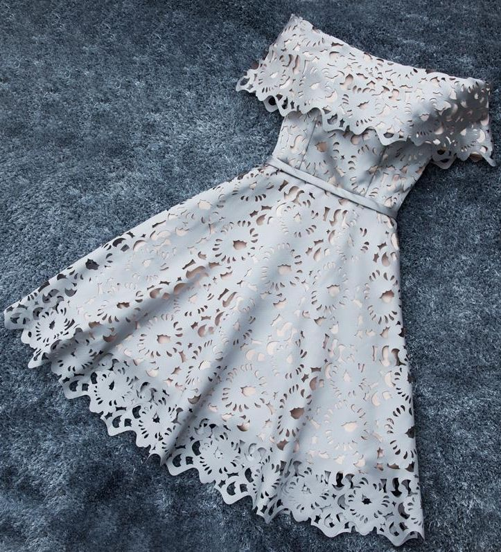 2017 Shiny Off-the-Shoulder Lace Short A-Line Homecoming Dresses