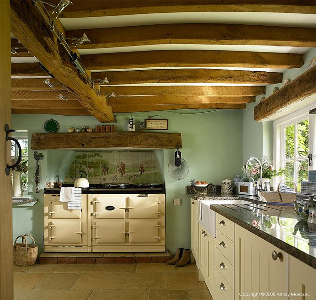 Elegant Wooden Beams Line The Ceiling OEnglish Country Kitchen. Lovely Sage Green  Complements The Warm Wood Part 8