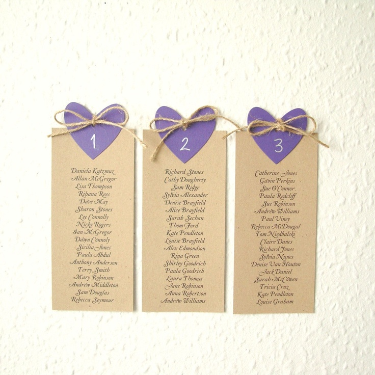 Wedding seating plan with coloured heart and natural by shintashop, £20.00