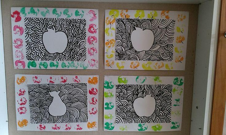 kresba tuší a otisky jablíček