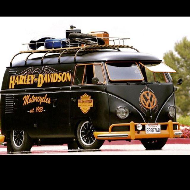 Cool #VW van in Harley colors.