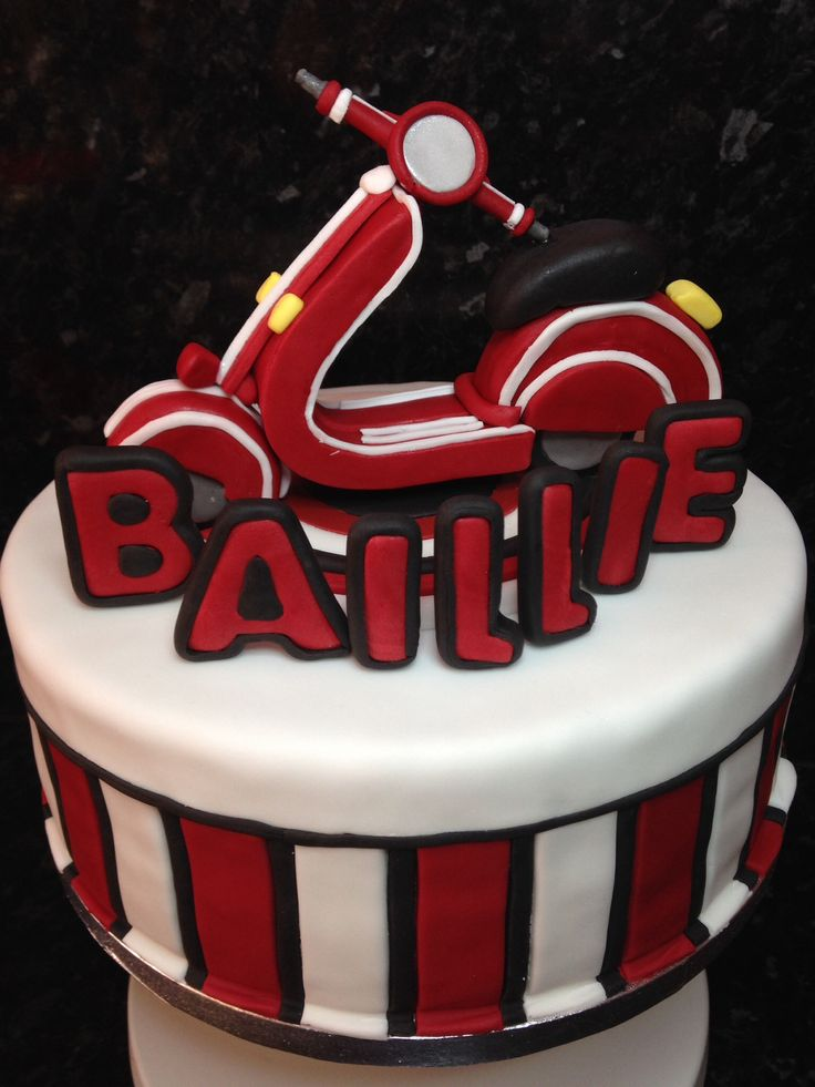 Baillies moped cake