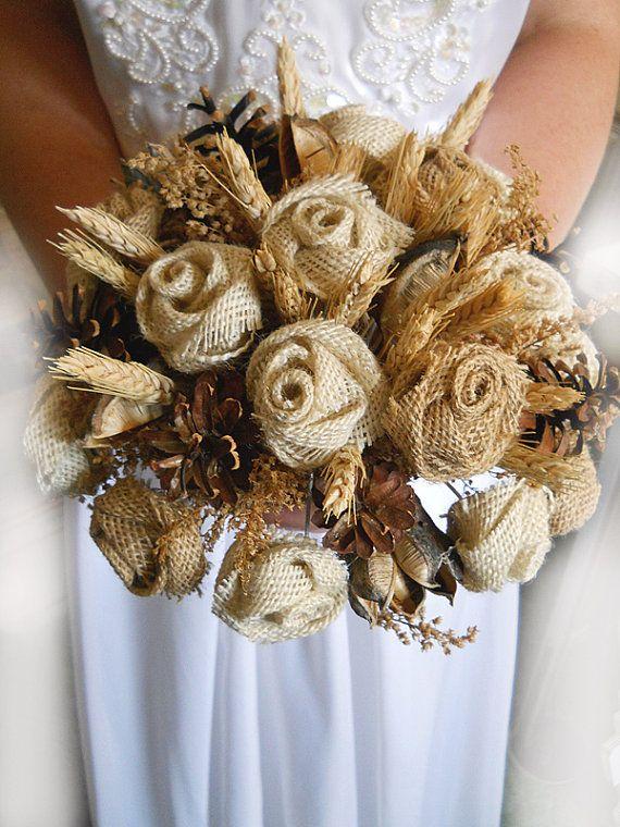 """Bouquet de mariée pays, toile de jute et blé nuptiale ou Bouquet de demoiselle d'honneur. Maintenant disponible dans 6 """", 8"""" ou 10 """".Fabriqué sur commande."""