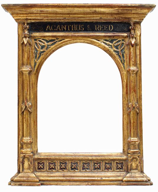 """Tabernacle frame with Acanthus and Reed on the frieze. From acanthus-reed.com: """"Before the Industrial Revolution, picture frame design was the purview of architects for their wealthy patrons. The early Renaissance saw the development a frame fashioned after the facade of ancient Greek and Roman temples. This frame is called the Tabernacle and is a clear example of how architecture and frame design go hand in hand."""""""