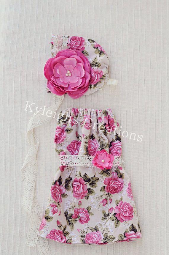 Newborn floral newborn dress newborn bonnet by KyleighsCreations, $56.00