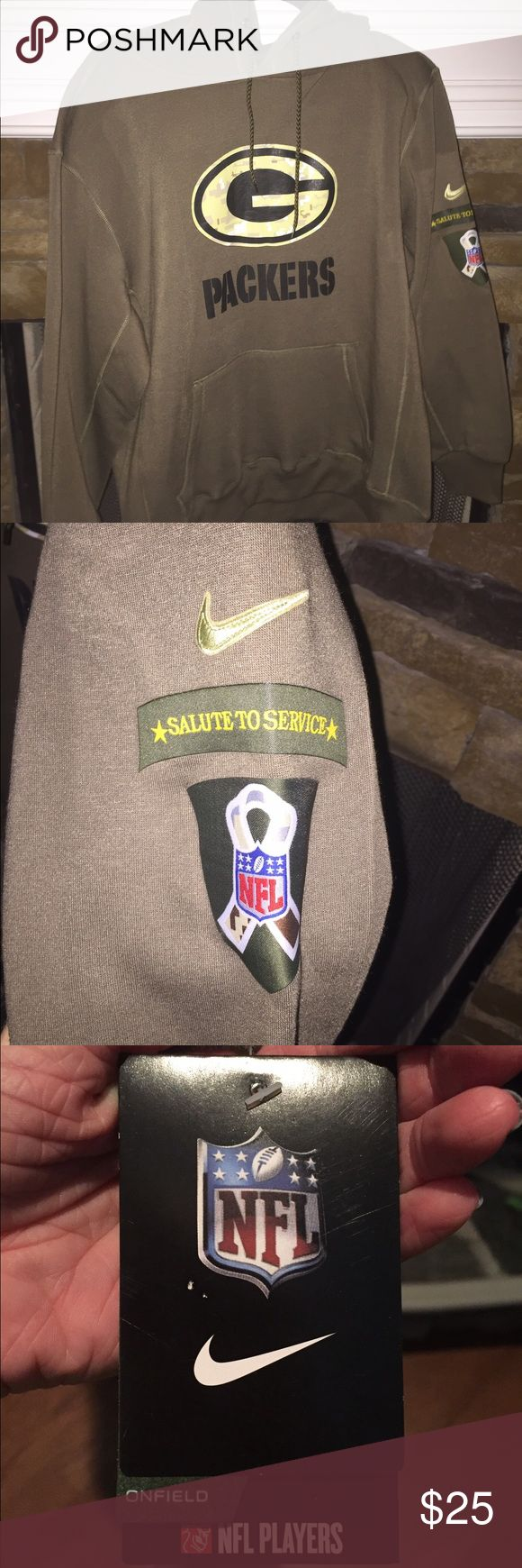 Men's Salute To Service Green Bay Packer Hoodie Army Green color. Never worn! Nike Jackets & Coats