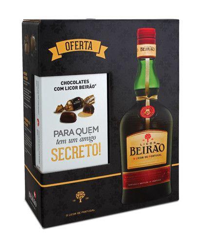 Estojo de garrafa Licor Beirão com oferta de caixa de chocolates. Natal, 2015. #licorbeirao #beirao #chocolate #natal #prendas