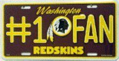awesome NFL Washington Redskins #1 Fan Metal Tag License Plate
