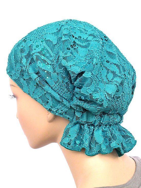 chemo beanie abbey cap in lace sequin turquoise 569a