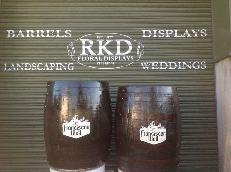 Franciscan Well Whiskey Barrels By RKD Floral Displays