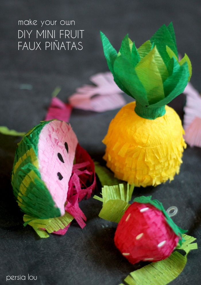 Make Your Own DIY Mini Fruit Faux Piñata Garland | Persia Lou
