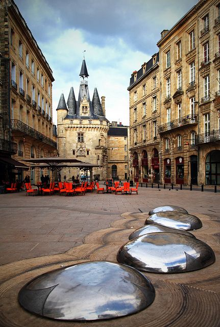 Porte Cailhau, Bordeaux, France. Loved this place! I still think those silver stones looked like ladybugs...