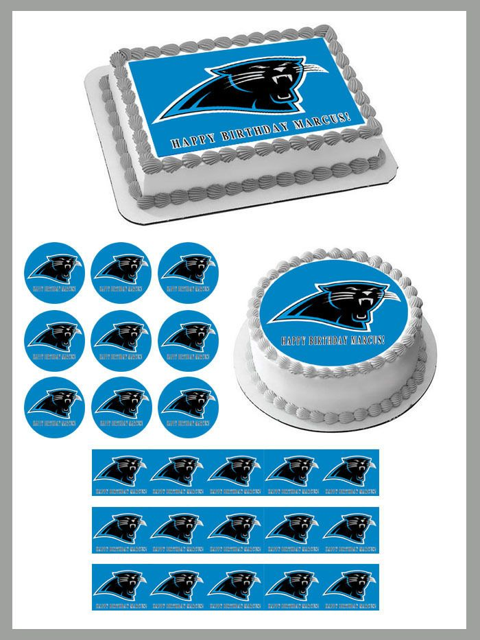 Carolina Panthers Edible Birthday Cake Topper OR Cupcake Topper, Decor #BirthdayChild