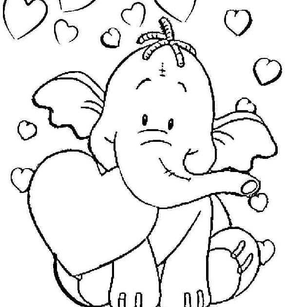Free Printable Kindergarten Coloring Pages This Unique Collection Of Printable Color In 2020 Elephant Coloring Page Summer Coloring Pages Valentines Day Coloring Page